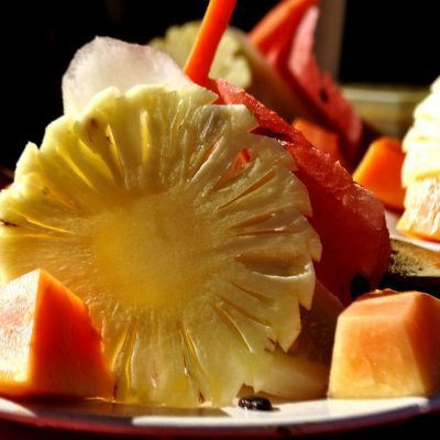 Papaya Watermelon Plate Fruits Platter Pineapple