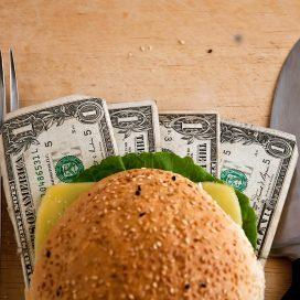 US dollars in a hamburger bun, close-up